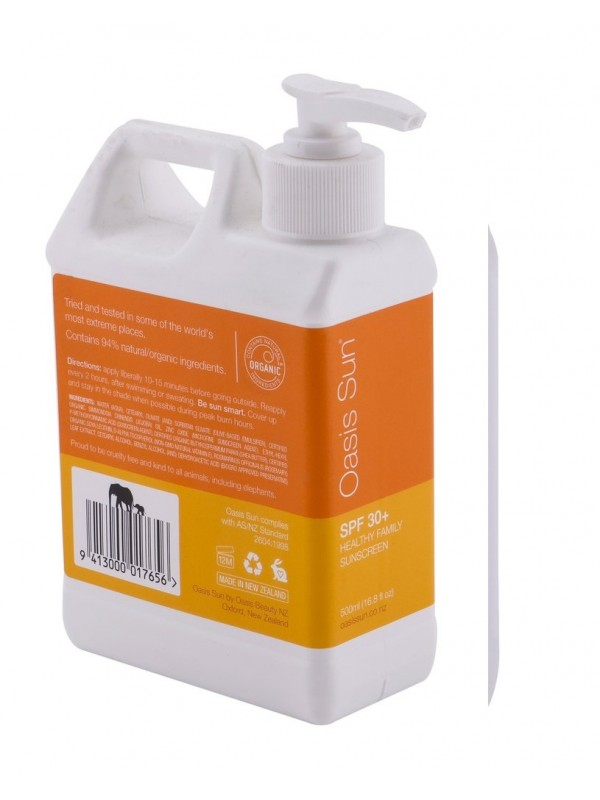 Oasis Sun SPF30 Family Sunscreen 500ml (Jumbo Size)