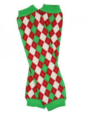 JuDanzy Leg Warmers - Red/Green Argyle