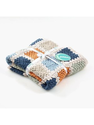 Pebble Granny Square Blanket - Blue